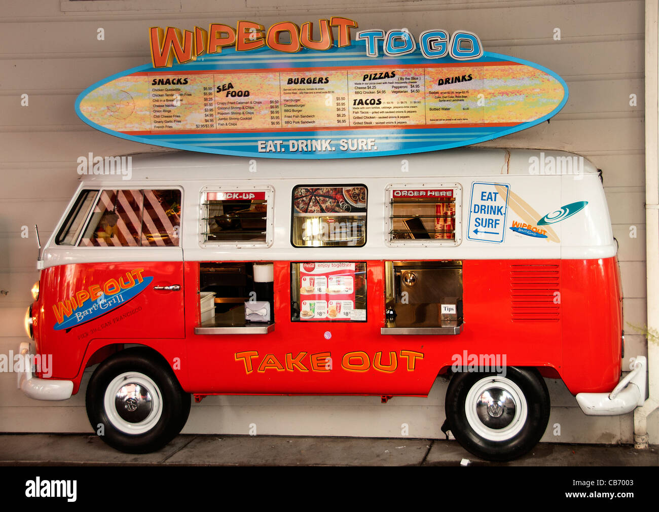 VW The Volkswagen T2 Wipe Out to Go Restaurant Fast Food San Francisco California - Stock Image