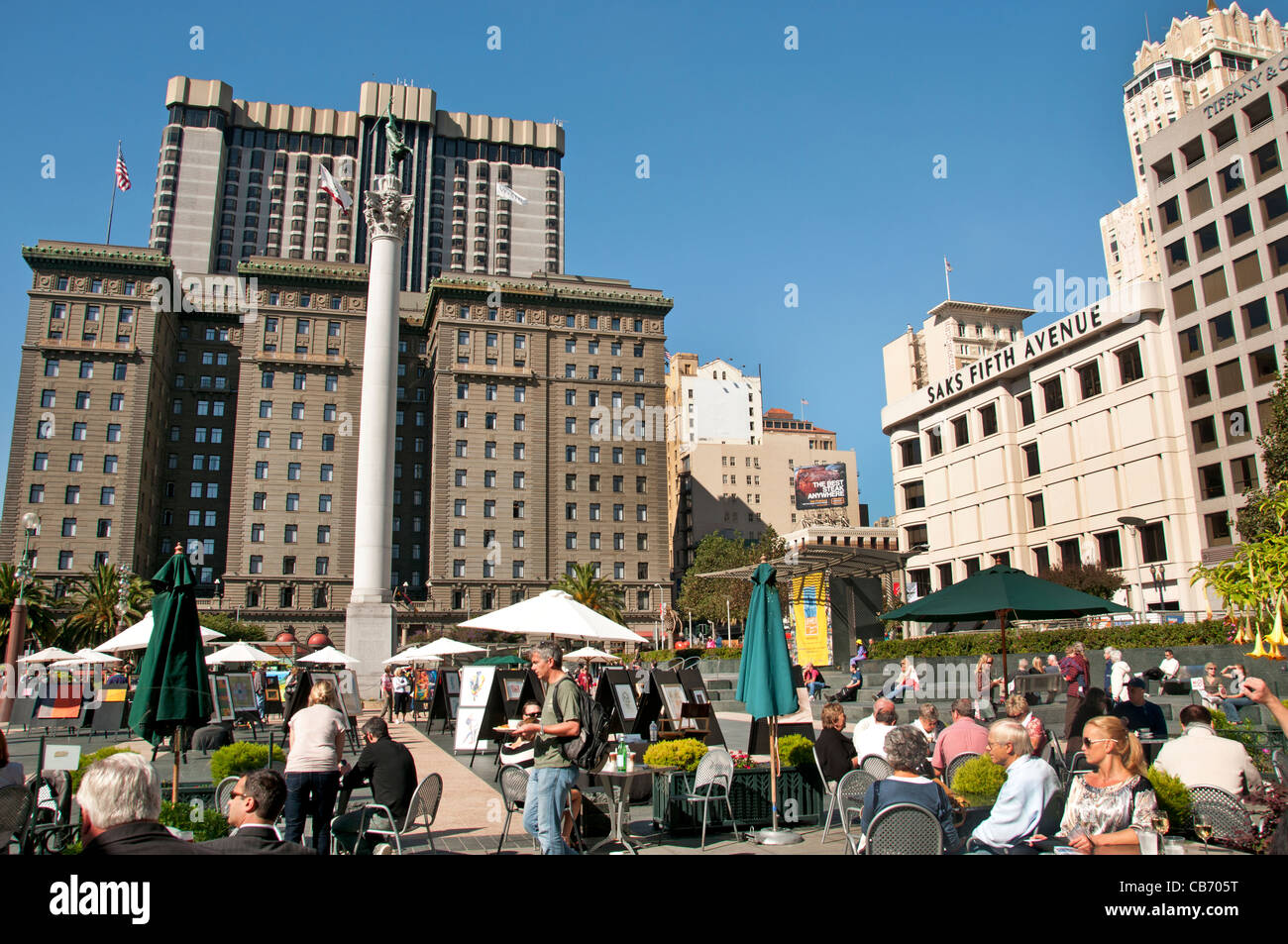 Union Square San Francisco California City Bar Pavement  Saks Fifth Avenue Stock Photo