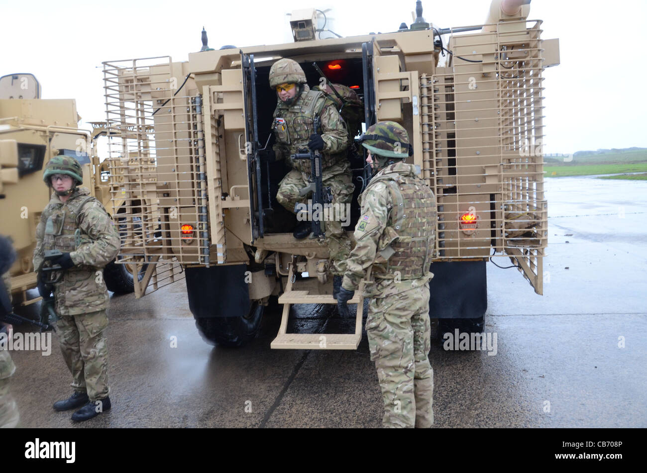 Mastiff is a heavily armored, 6 x six-wheel-drive patrol vehicle which carries eight people, plus two crew. It is - Stock Image