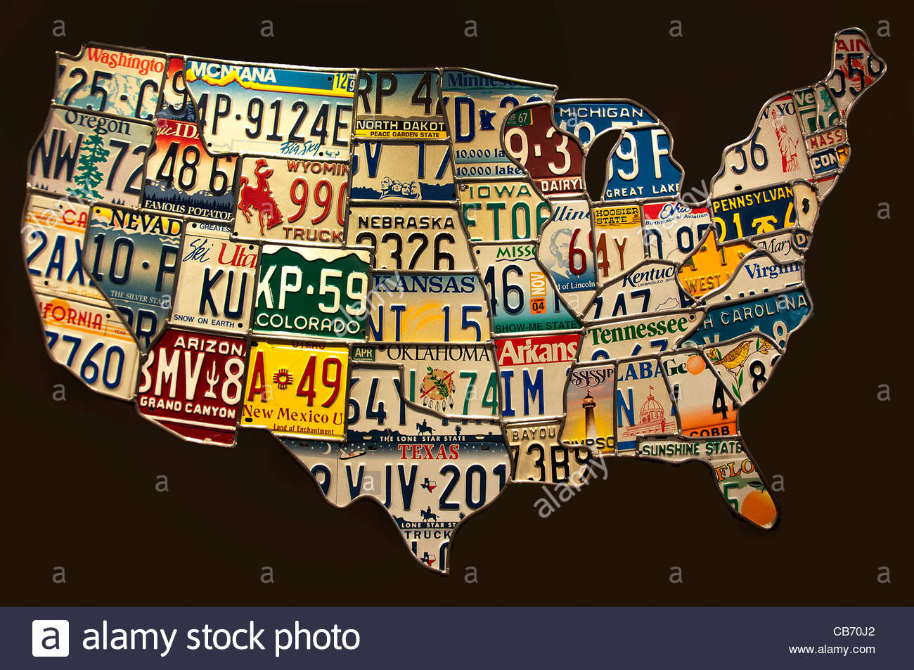 Art Map Of United States Car License Registration Plate Gallery