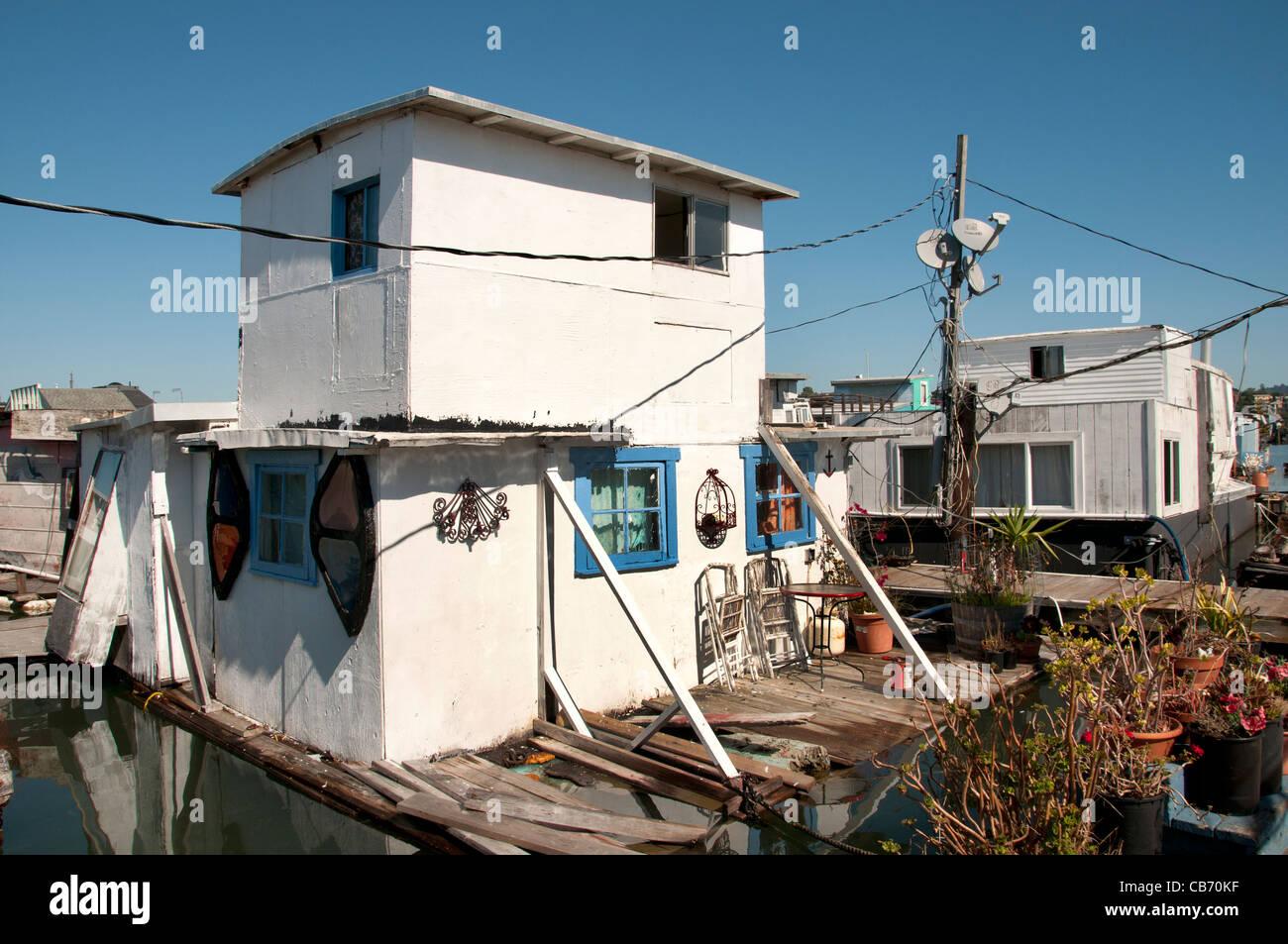 Sausalito's houseboat community San Francisco Bay California United States of America - Stock Image