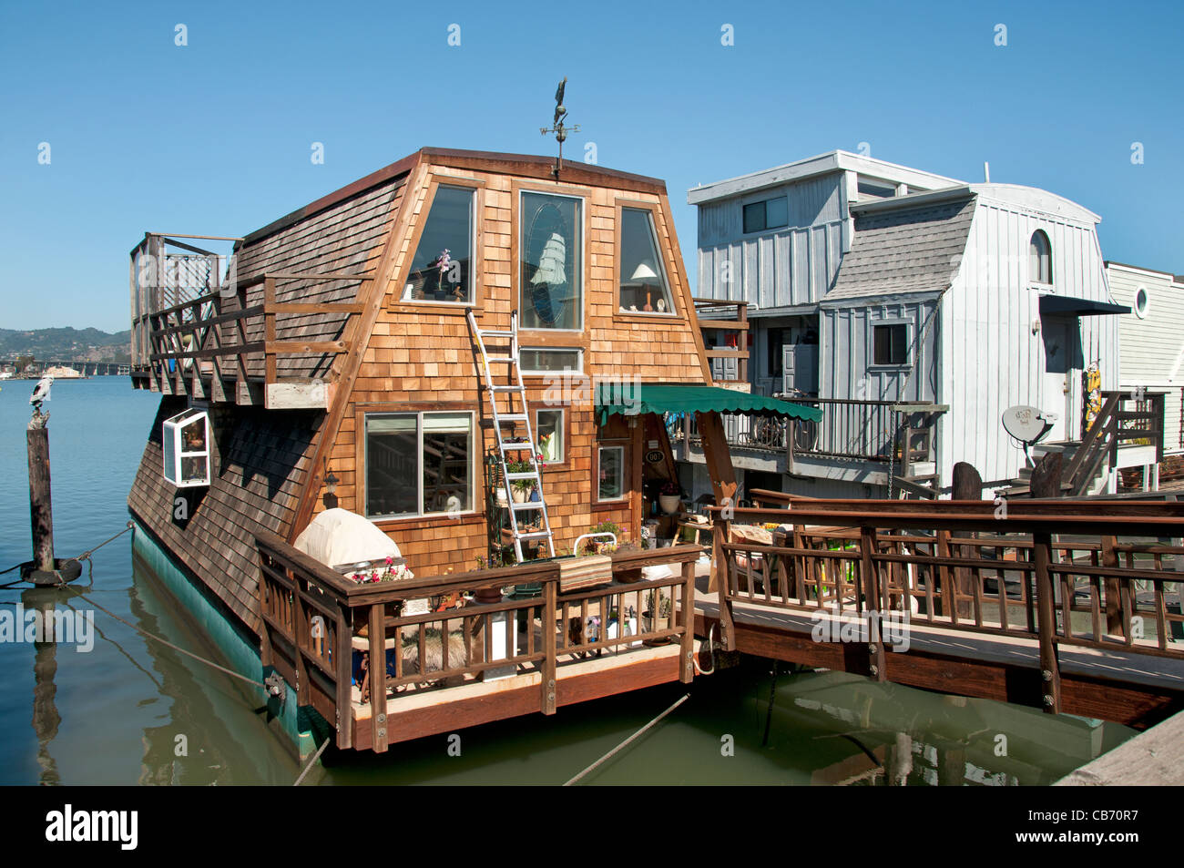 Sausalito's houseboat community San Francisco Bay California United States of America - Stock Image