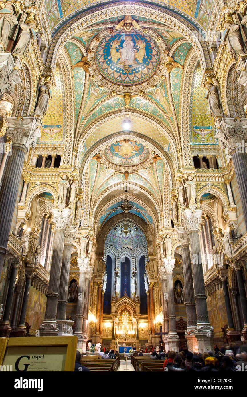 Basilica of Notre-Dame de Fourvière in Lyon, France (la Basilique Notre Dame de Fourvière) - Stock Image
