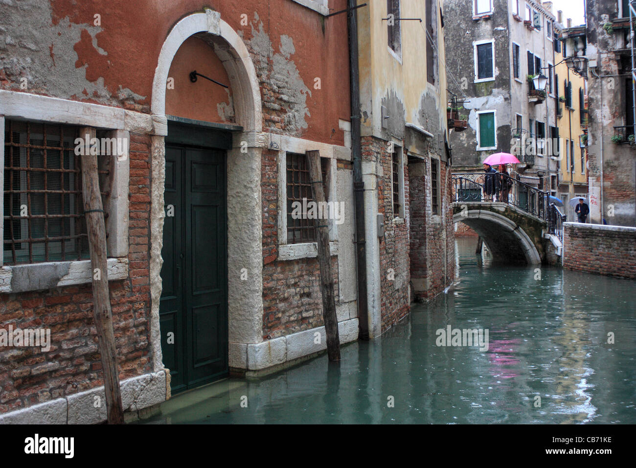 Raining in Venice, Italy - Stock Image