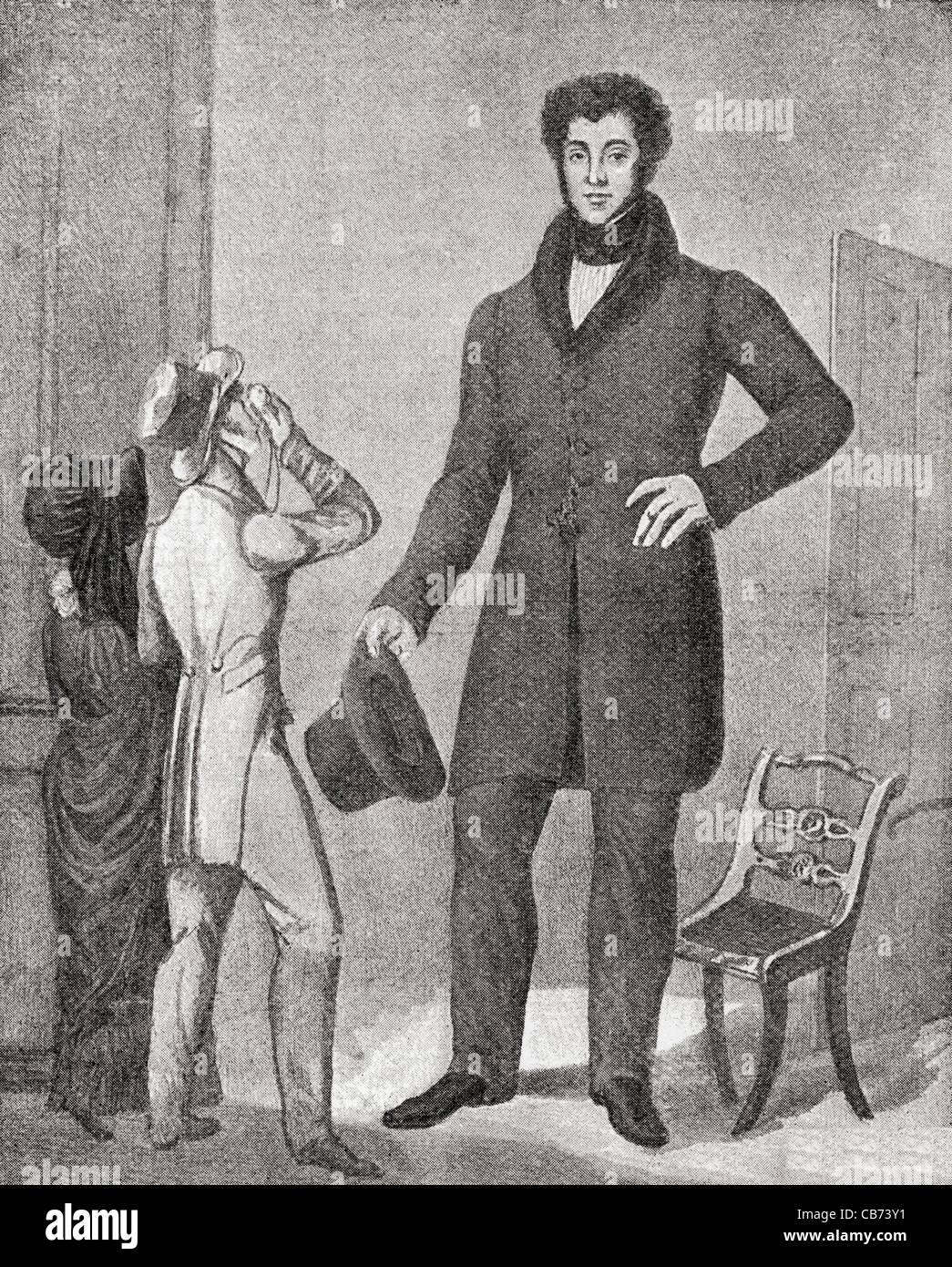Louis Frenz , born 1801- ? . French giant. Stock Photo
