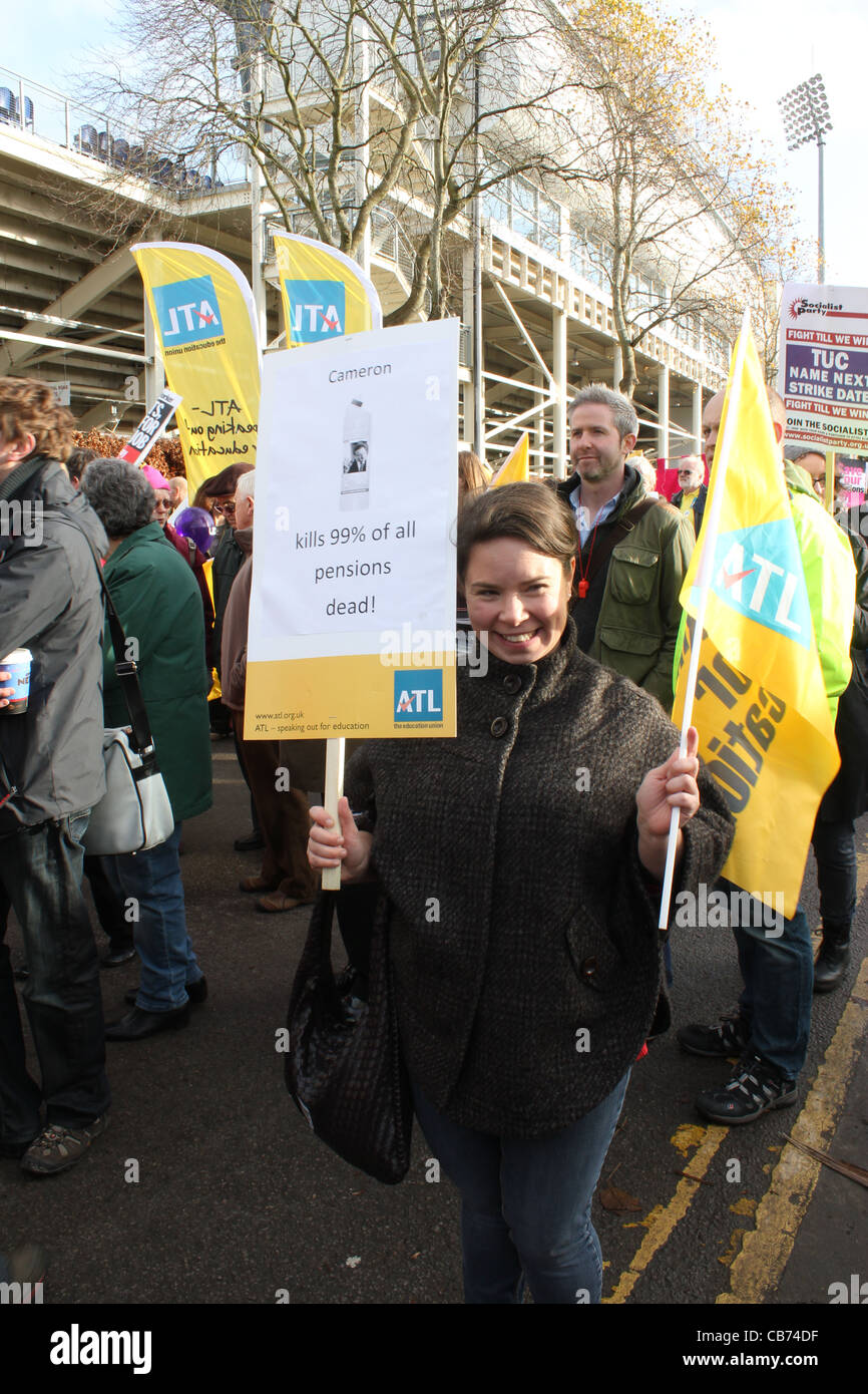 ATL trade union protest over pensions. - Stock Image