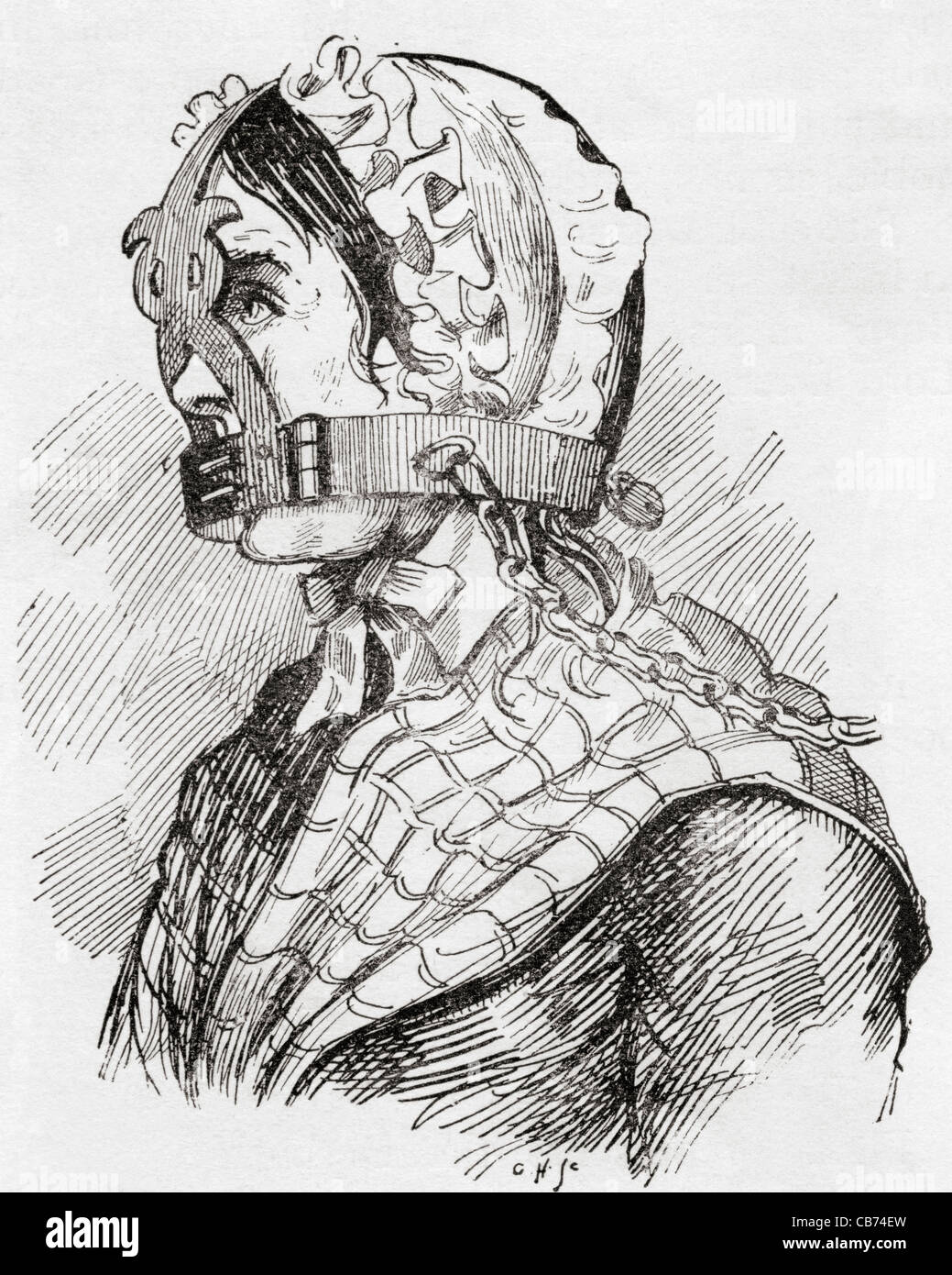 Woman wearing a Derbyshire Brank or muzzle in the 17th century. From The Strand Magazine published 1894. - Stock Image