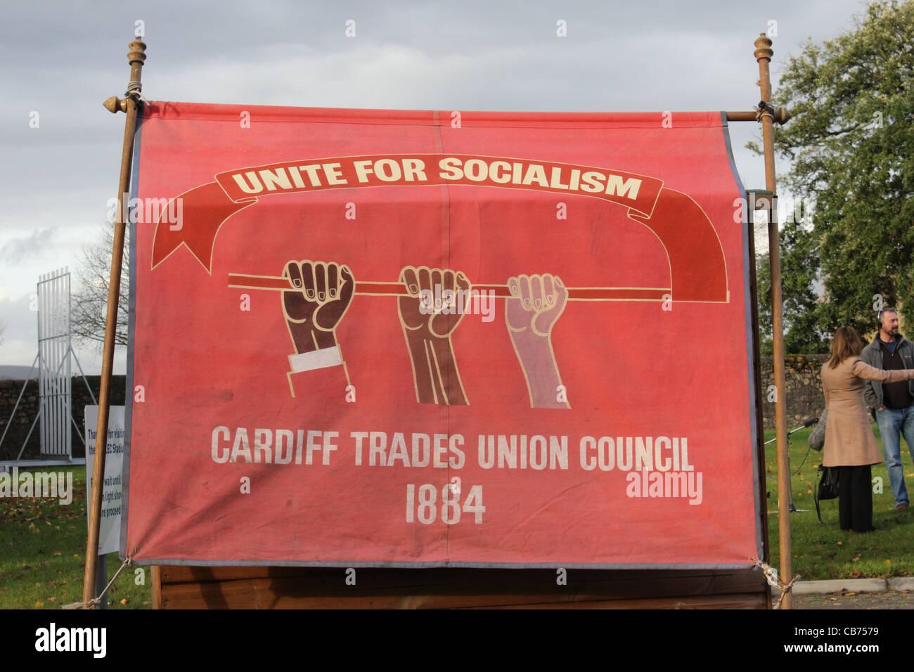 CARDIFF, UK, 30th November 2011. Trade Unionists socialism banner. - Stock Image