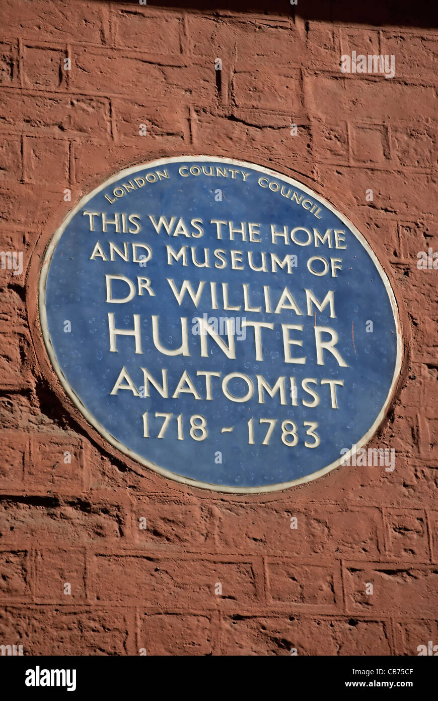 blue plaque marking the home and museum of 18th-century anatomist, doctor william hunter, great windmill street, - Stock Image