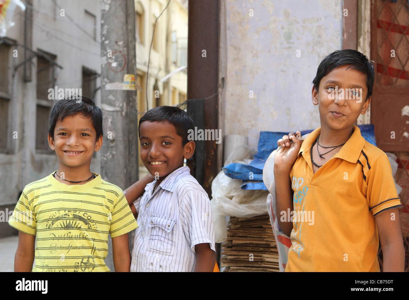 Smiling Indian boys Pushkar Rajasthan India Stock Photo