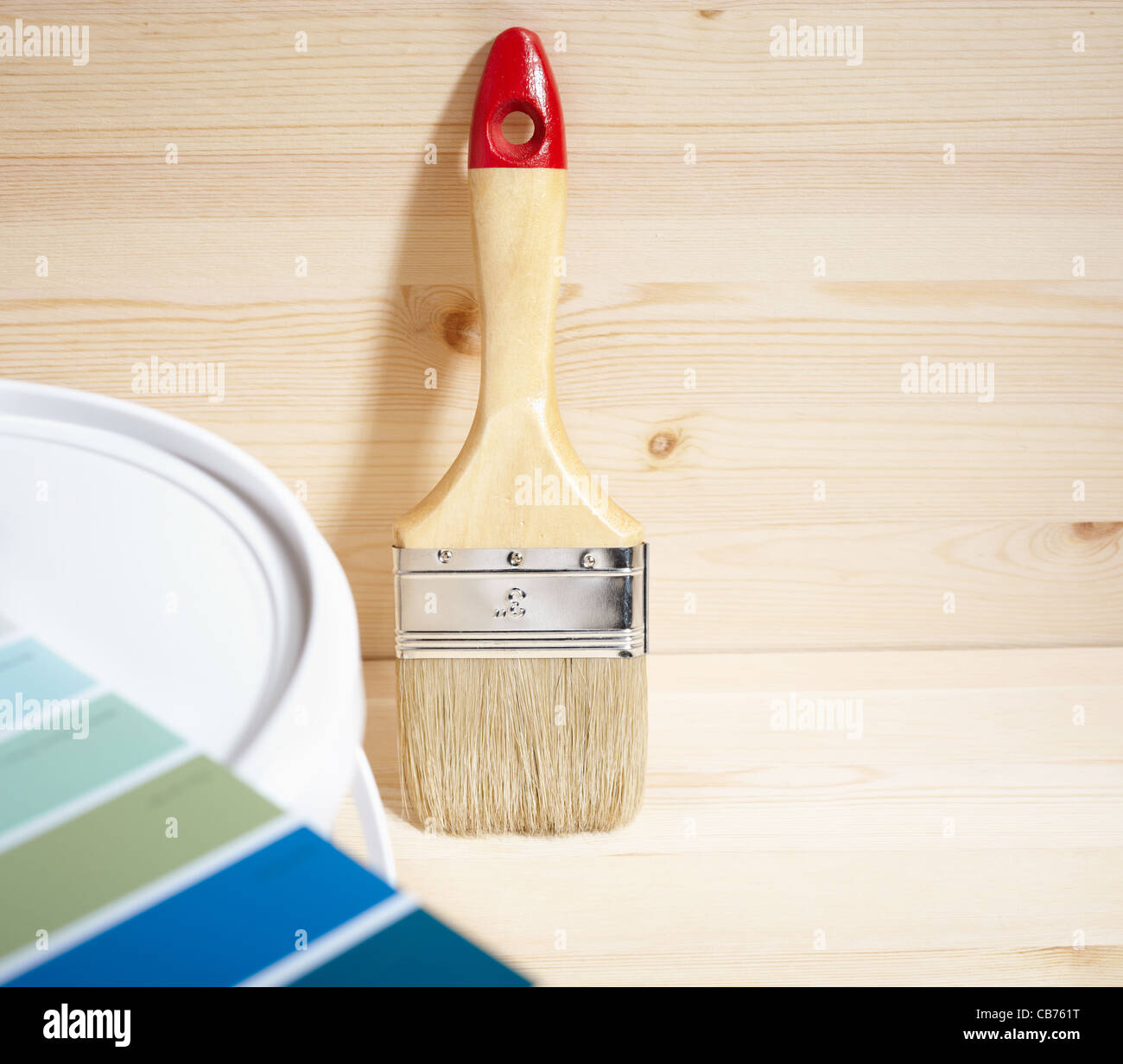 painting brush and gamut prints - Stock Image
