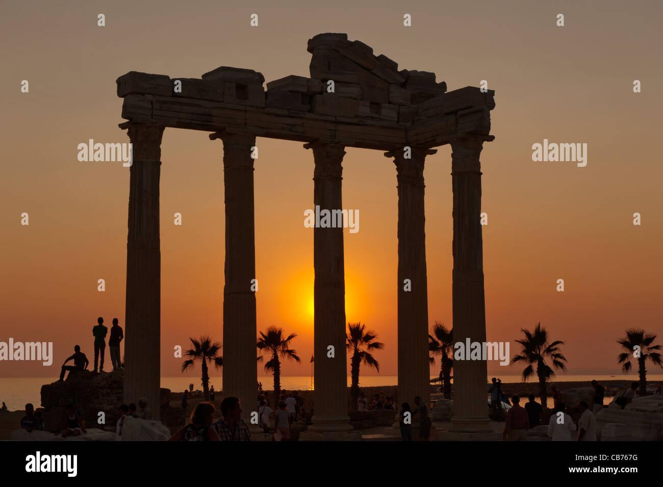 Apollon Temple at sunset Side Antalya Turkey - Stock Image