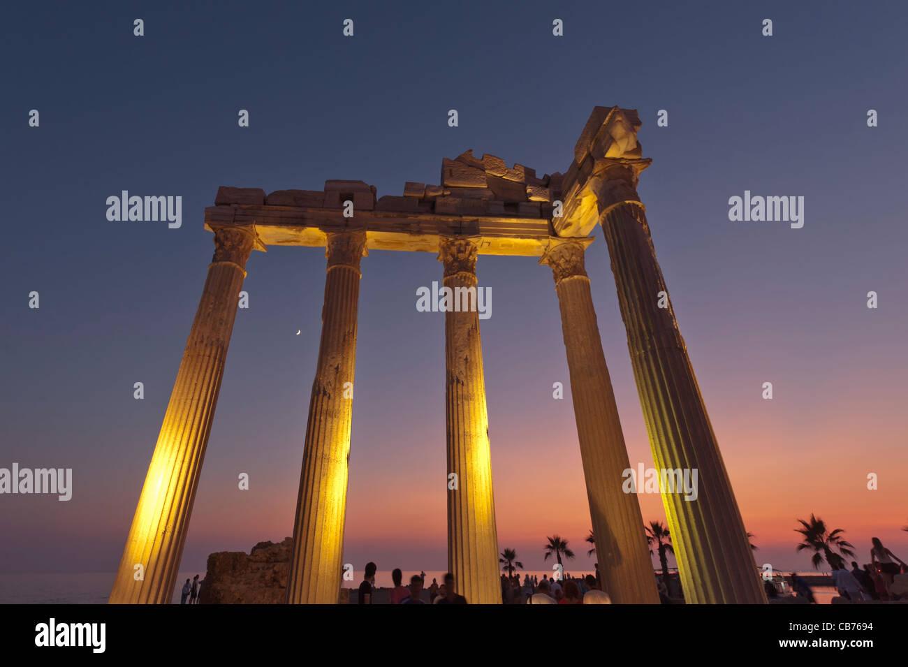 Apollon Temple at dusk Side Antalya Turkey - Stock Image