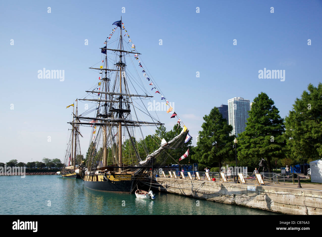 The Niagara and the Pride of Baltimore. Tall Ships 2011 Navy Pier, Chicago, Illinois. - Stock Image