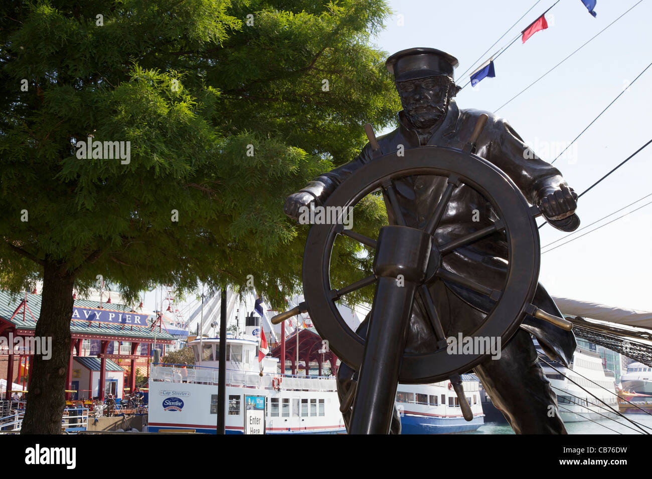 Sea captain statue. Navy Pier, Chicago, Illinois - Stock Image