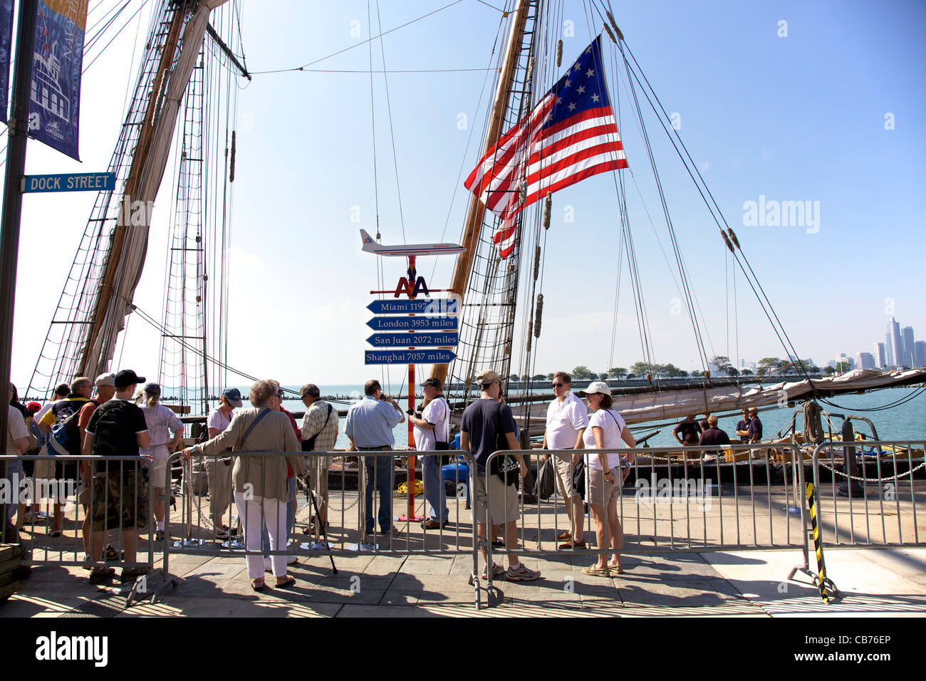 Tourists waiting to board tall ship Friends Good Will. Tall Ships 2011 Navy Pier, Chicago, Illinois - Stock Image