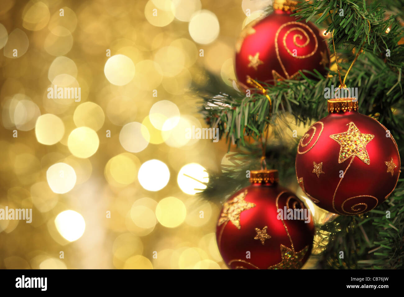 Closeup of Christmas-tree decorations. - Stock Image