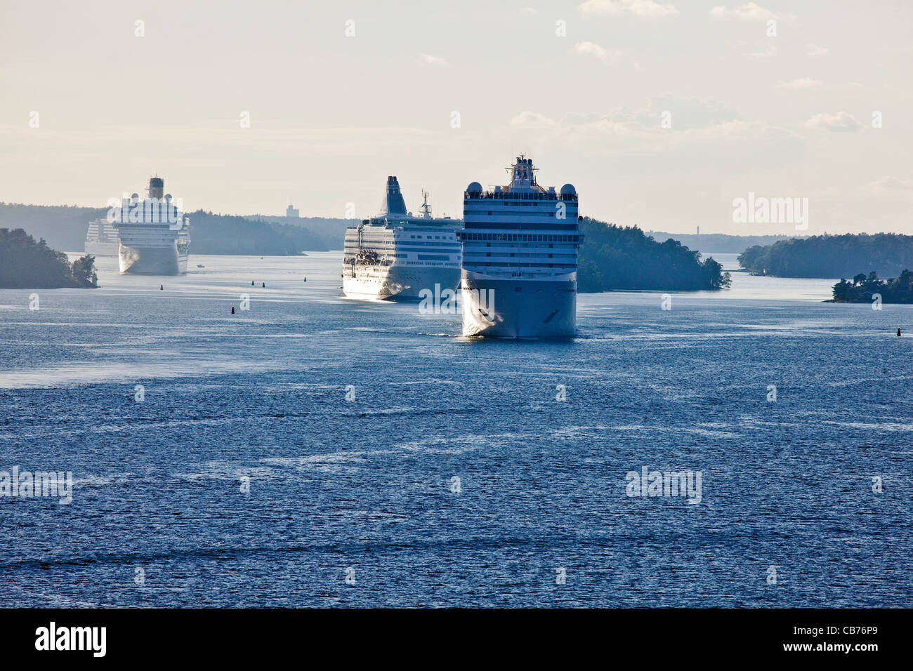 Large Cruise Ships cruising through the Stockholm Archipelago in the Baltic Sea Sweden;Scandinavia;Europe - Stock Image