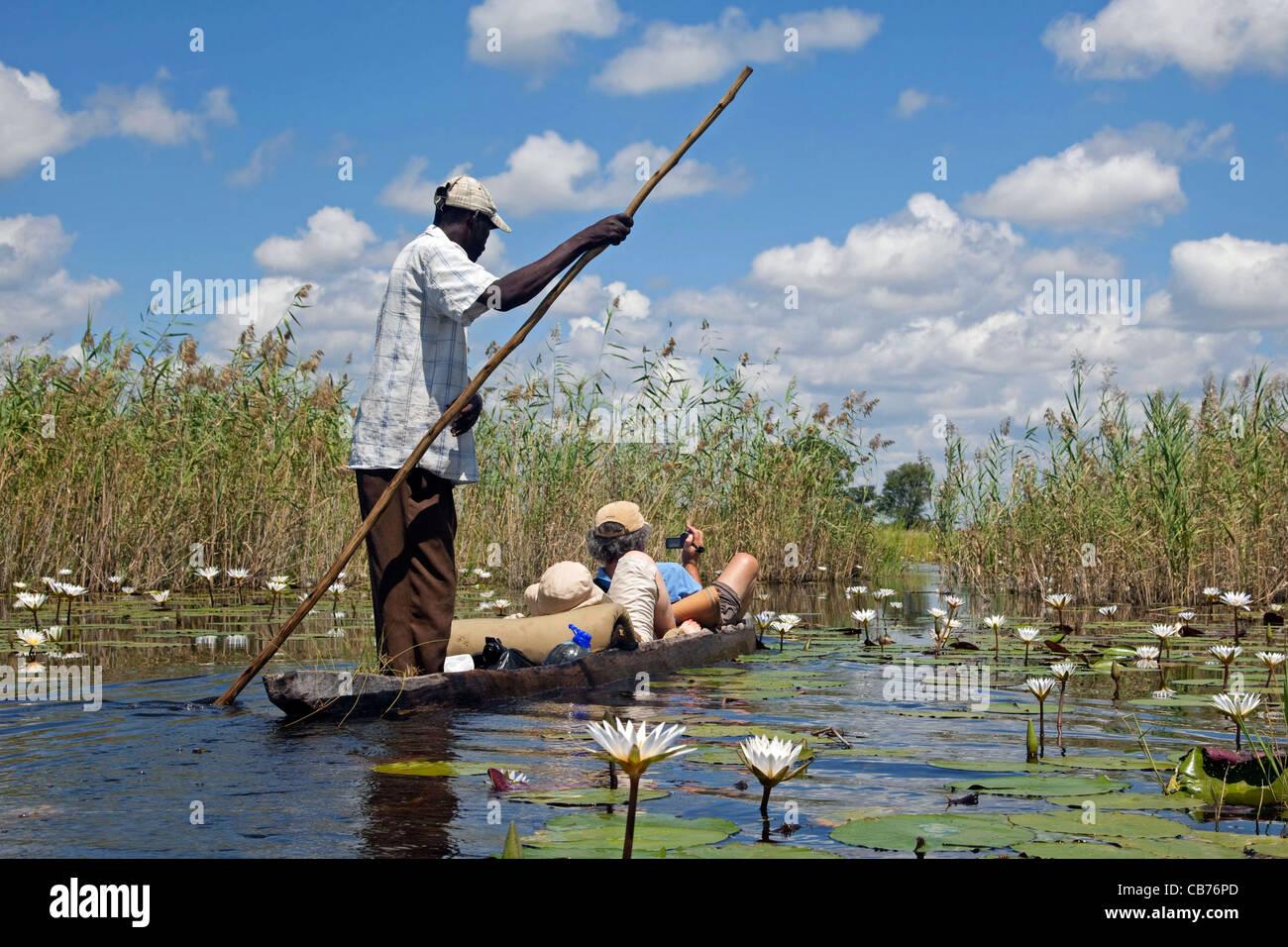 Tourists traveling in traditional wooden canoe, mokoro / makoro in the Okavango Delta, Botswana, Africa - Stock Image