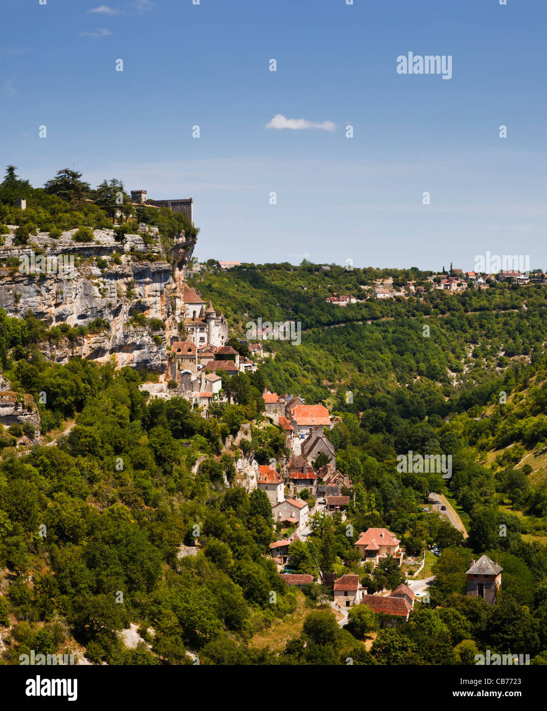 Cliff top town of Rocamadour in the Lot region of Southern France Stock Photo