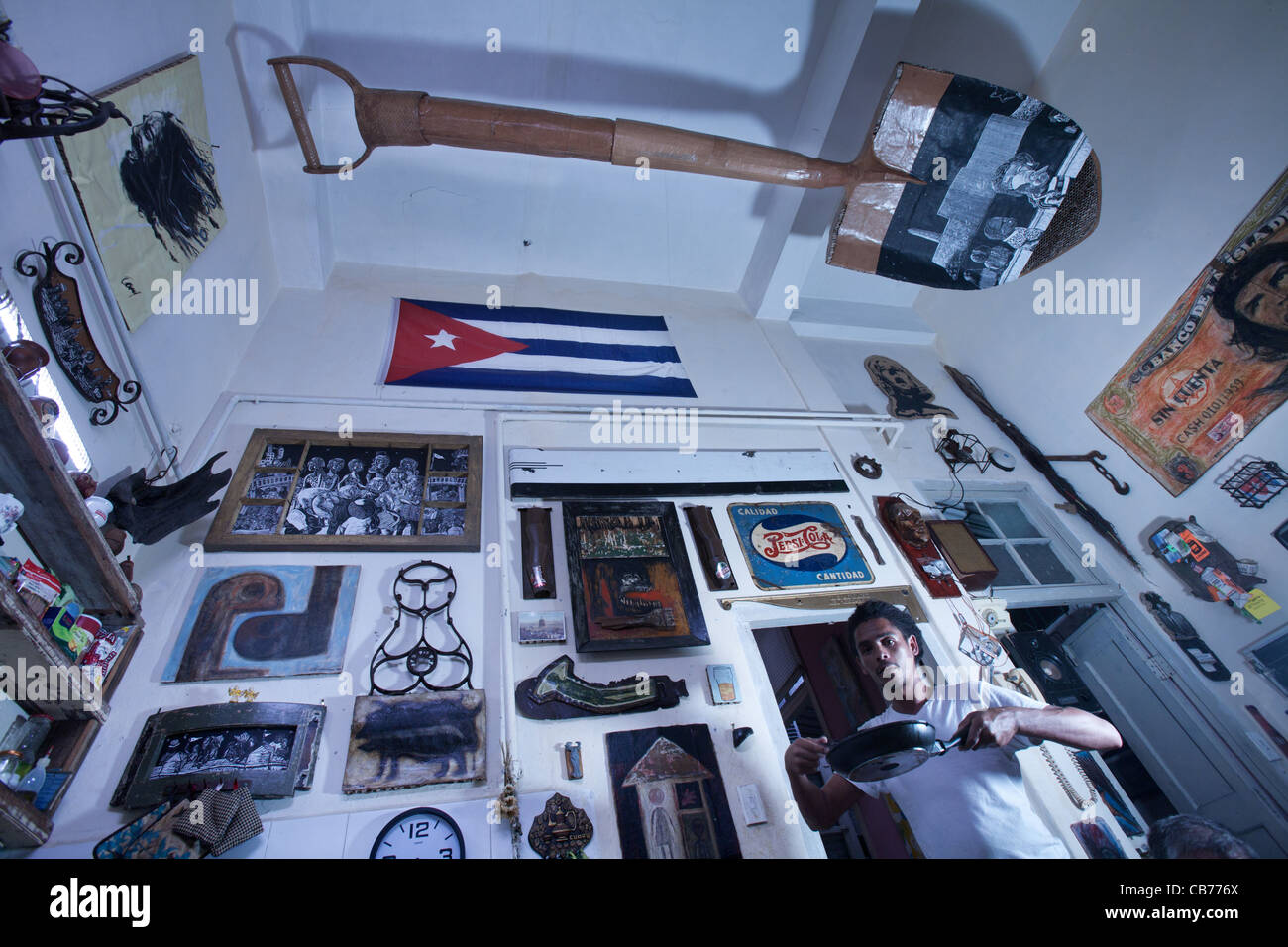 kitchen utensils man Sculptor Havana Cuba - Stock Image
