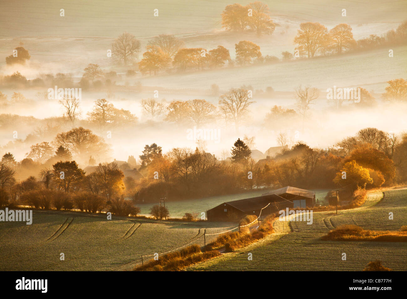 Anautumn sunrise view from Martinsell Hill over the Vale of Pewsey in Wiltshire, England, UK - Stock Image