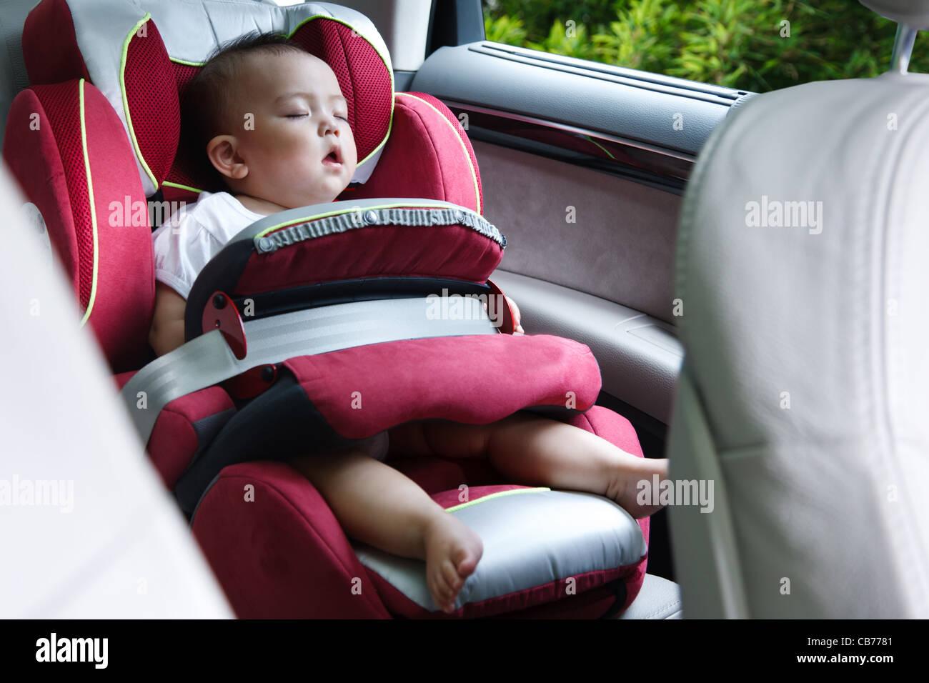 Baby Girl Asleep In Car Seat