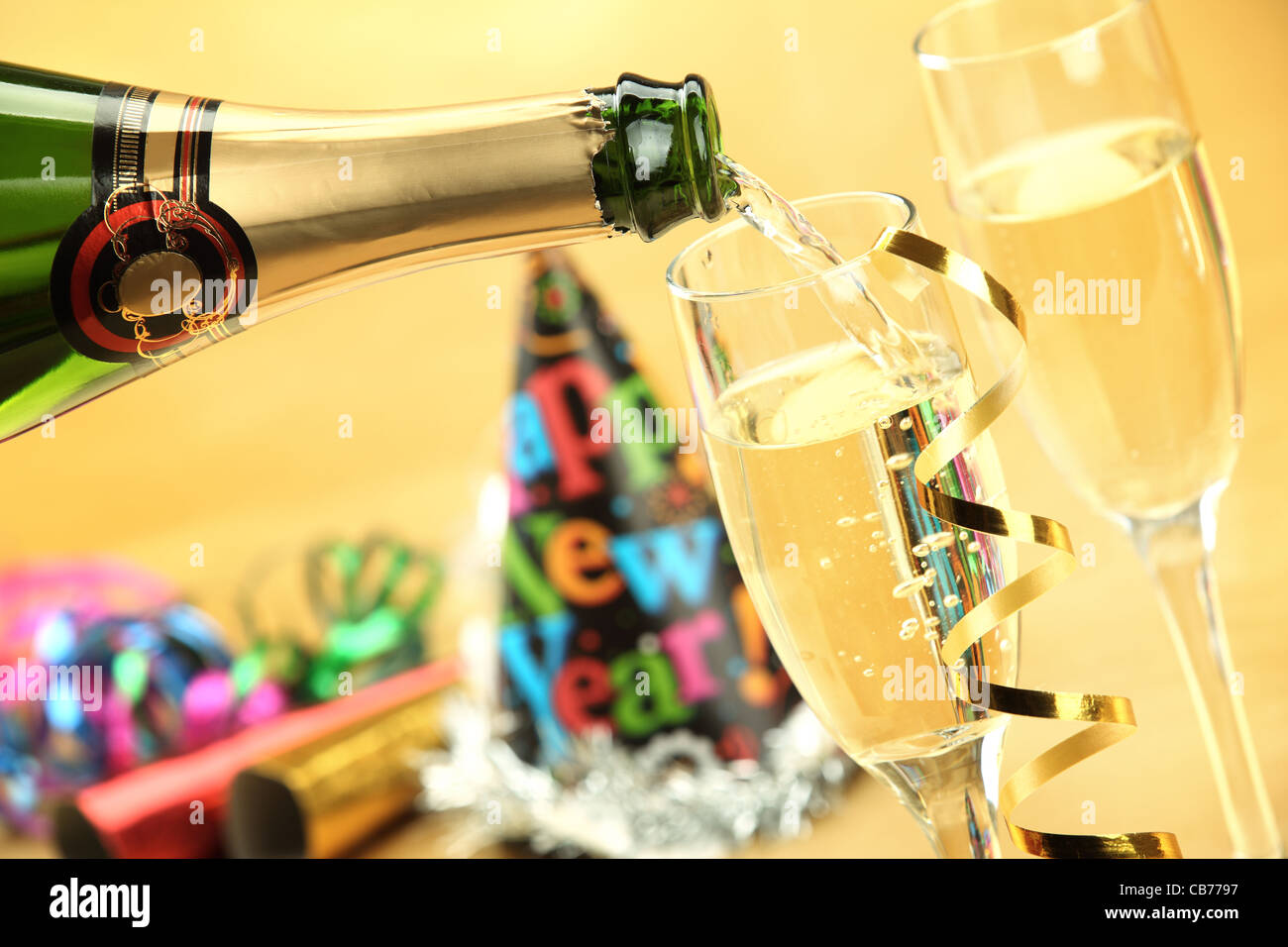 Champagne for New Year's Eve Celebration - Stock Image