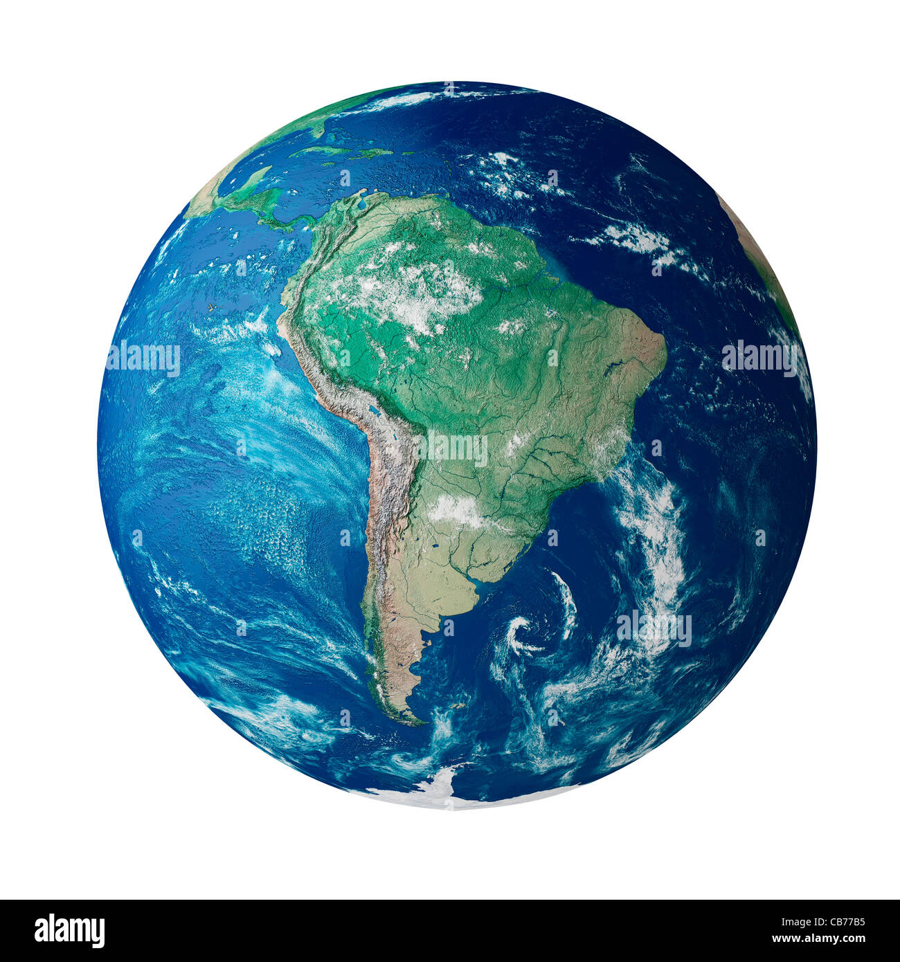 Globe showing the continent of South America on planet earth - Stock Image