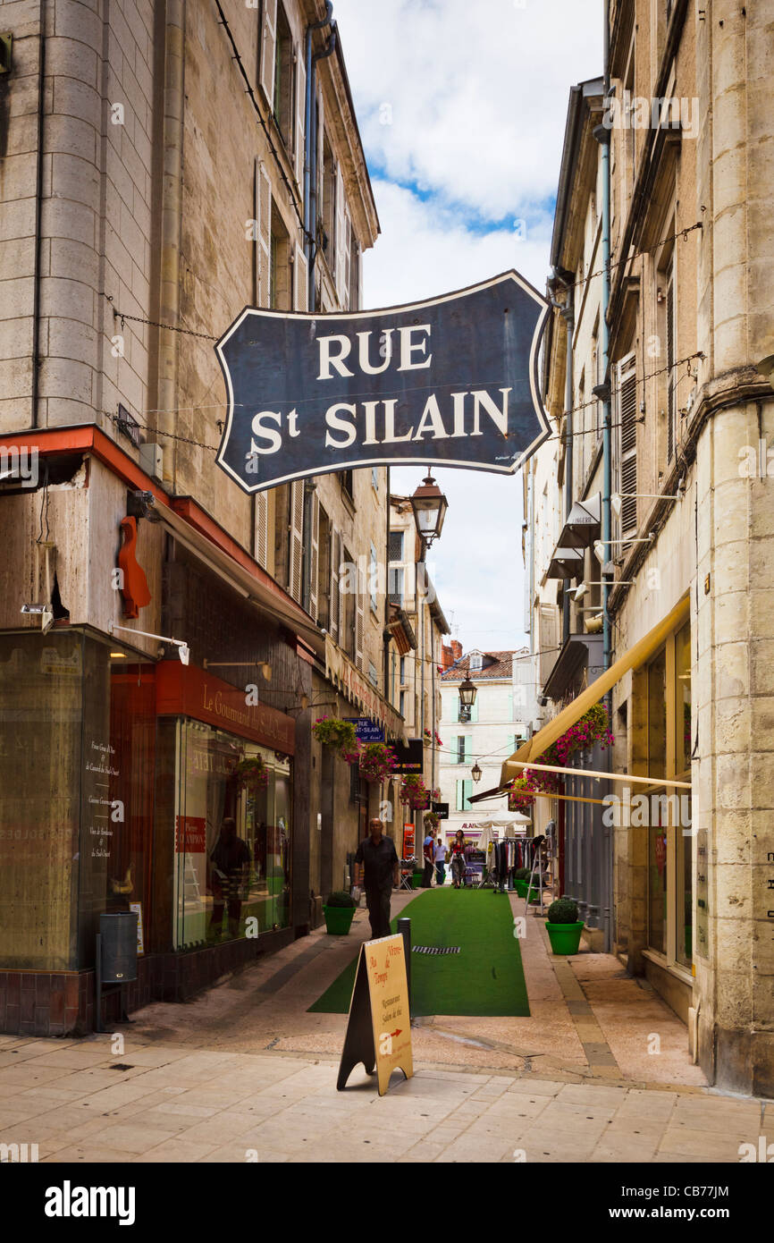 Perigueux, France - Shops in the Rue St Silan, Perigueux, Dordogne, France - Stock Image
