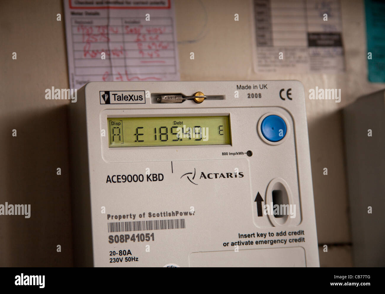 Debt Display _Electrical Supply and Distribution displaying an amount in debt - Stock Image