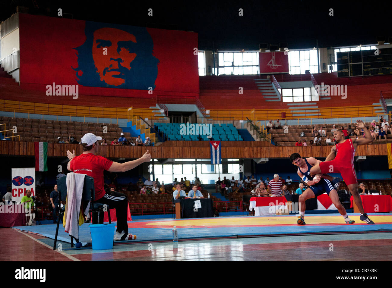 International Wrestling Match in the National Stadium, Havana (La Habana), Cuba - Stock Image