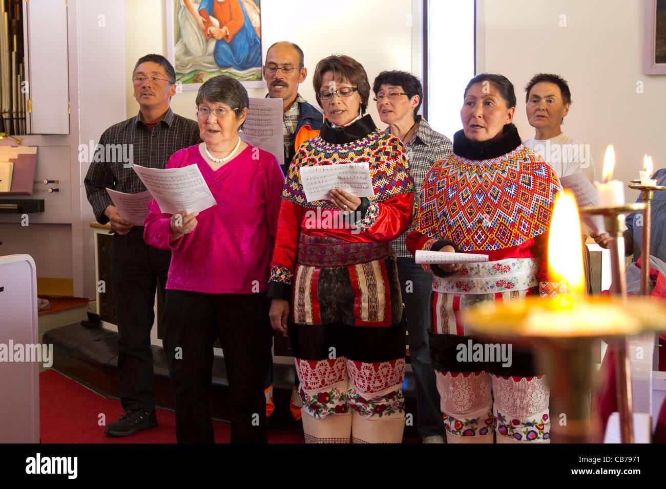 church choir, Kangaamiut, Greenland - Stock Image
