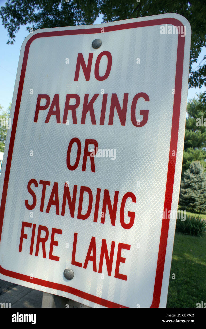 No parking sign, because of being a fire lane. - Stock Image