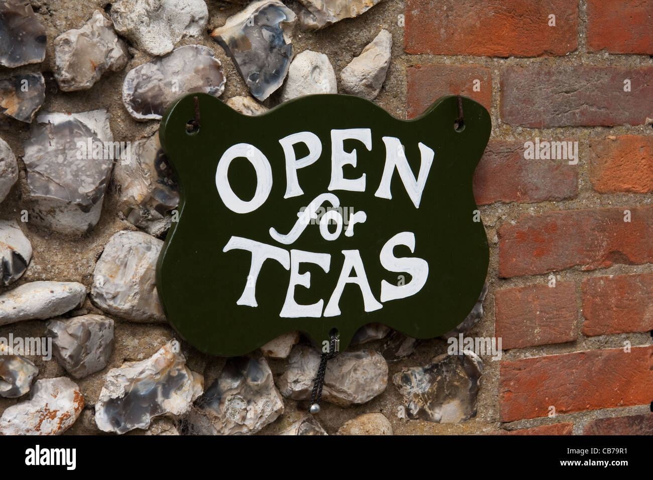 Open for Teas sign outside tearooms Stock Photo