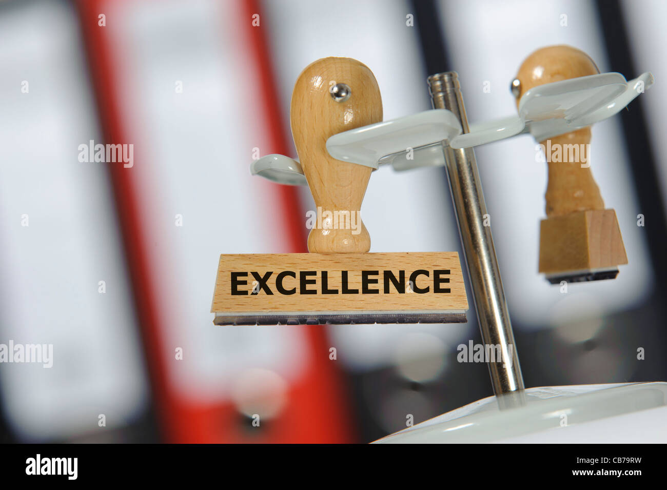 rubber stamp marked with EXCELLENCE - Stock Image