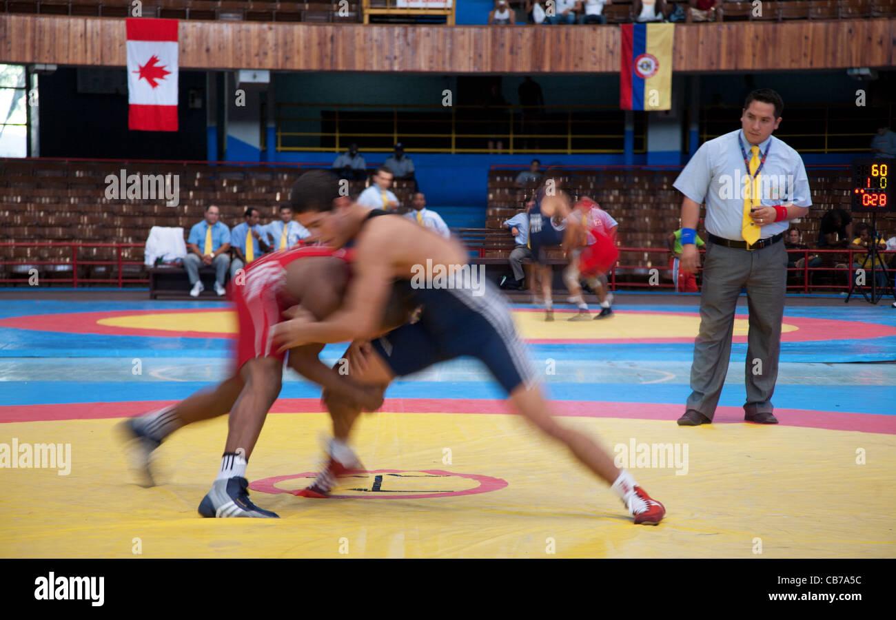 International Wrestling Match in the National Stadium, Havana (La Habana), Cuba - Stock Image
