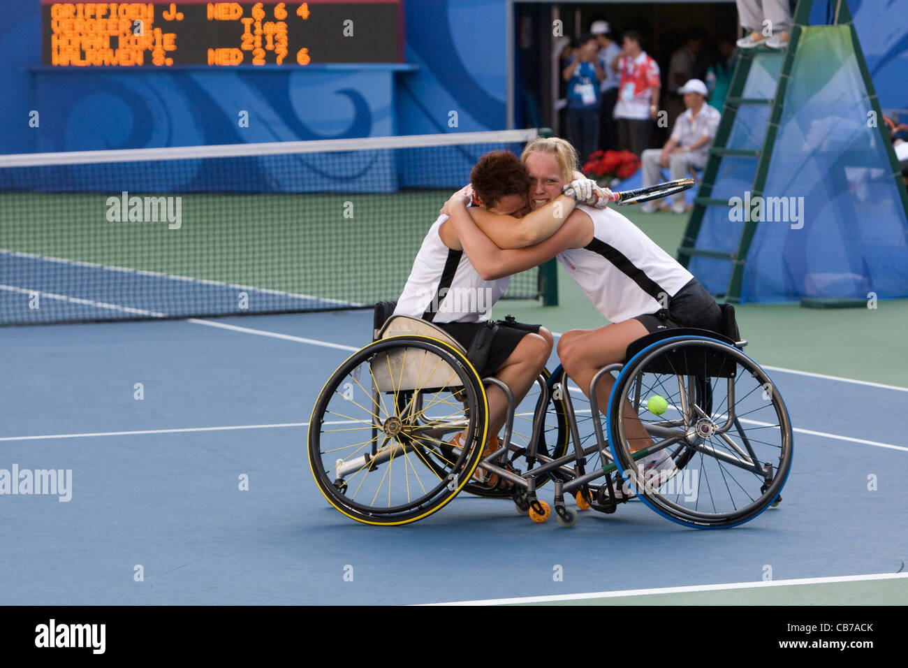 Beijing, China September 14, 2008: Paralympic Games showing The Netherlands doubles players victory in wheelchair - Stock Image