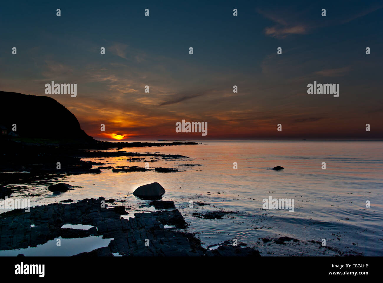Sunset on the isle in runde - Stock Image