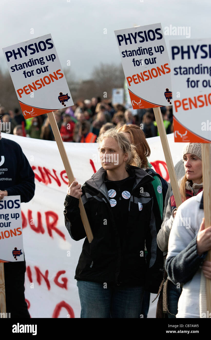 Protesters take part in the N30 Day of Action. Public Sector workers on Strike are pictured taking part in a protest - Stock Image