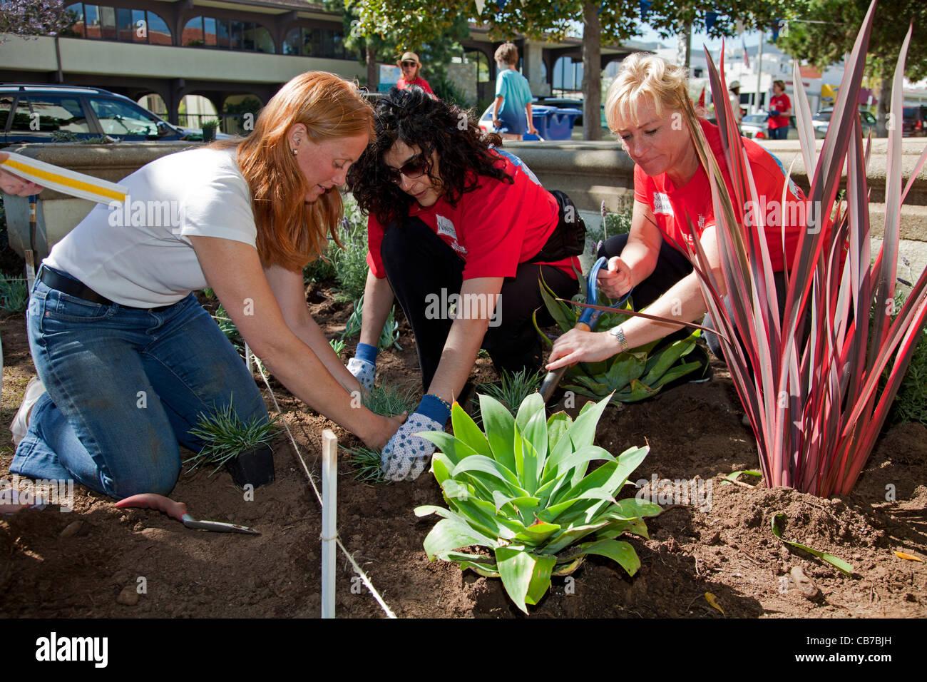 Keller Williams volunteers help clean up at Palisades Elementary School in the Pacific Palisades - Stock Image