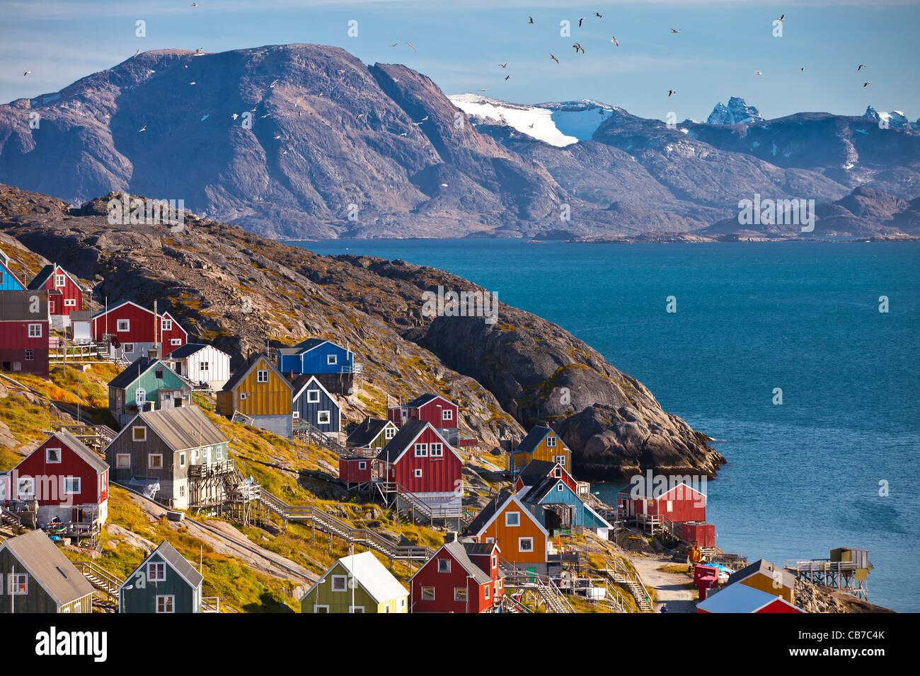 Inuit village of Kangaamiut, western Greenland - Stock Image