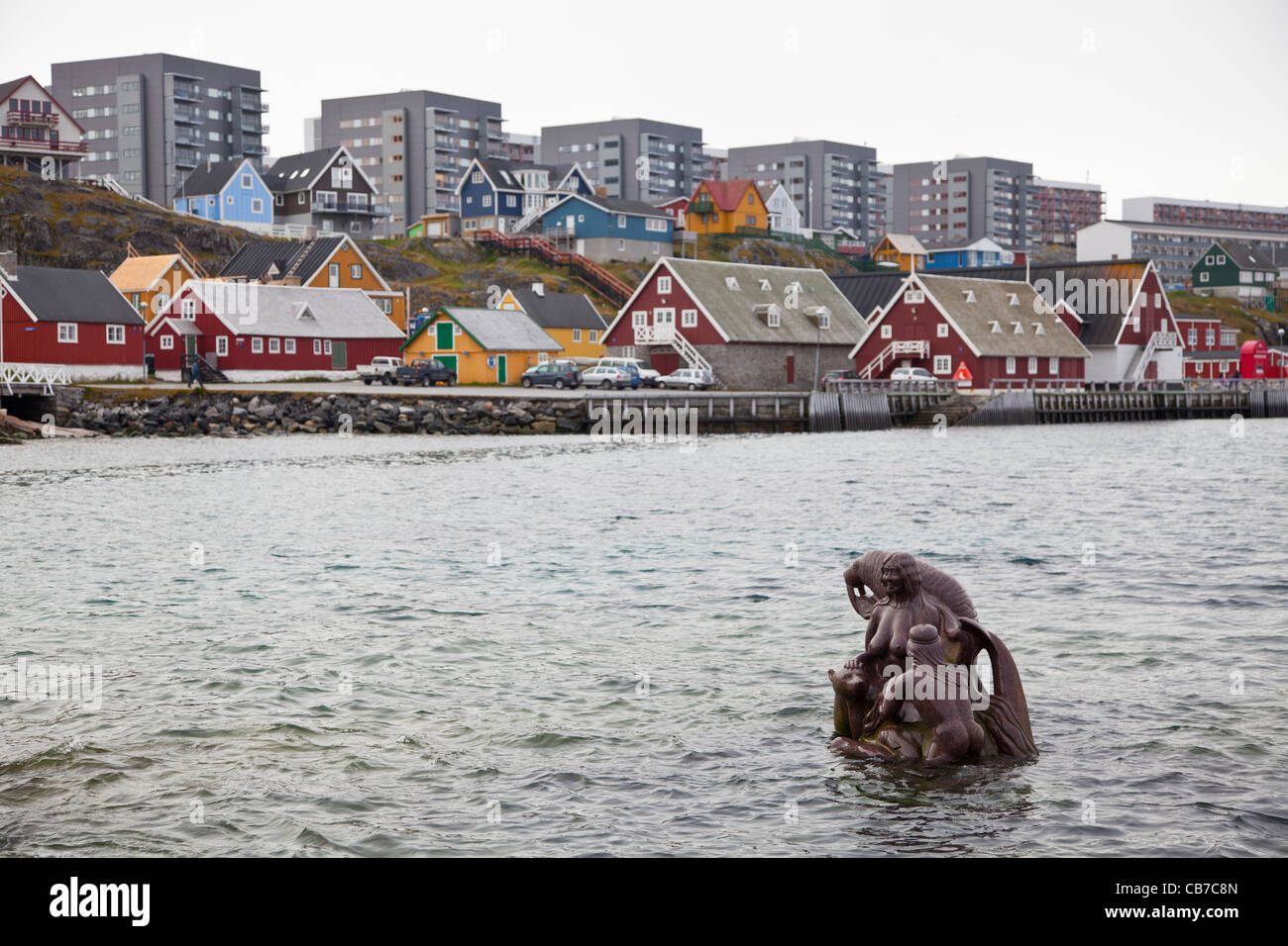 sculpture of Sedna, Inuit goddess of the sea, Nuuk, Greenland - Stock Image