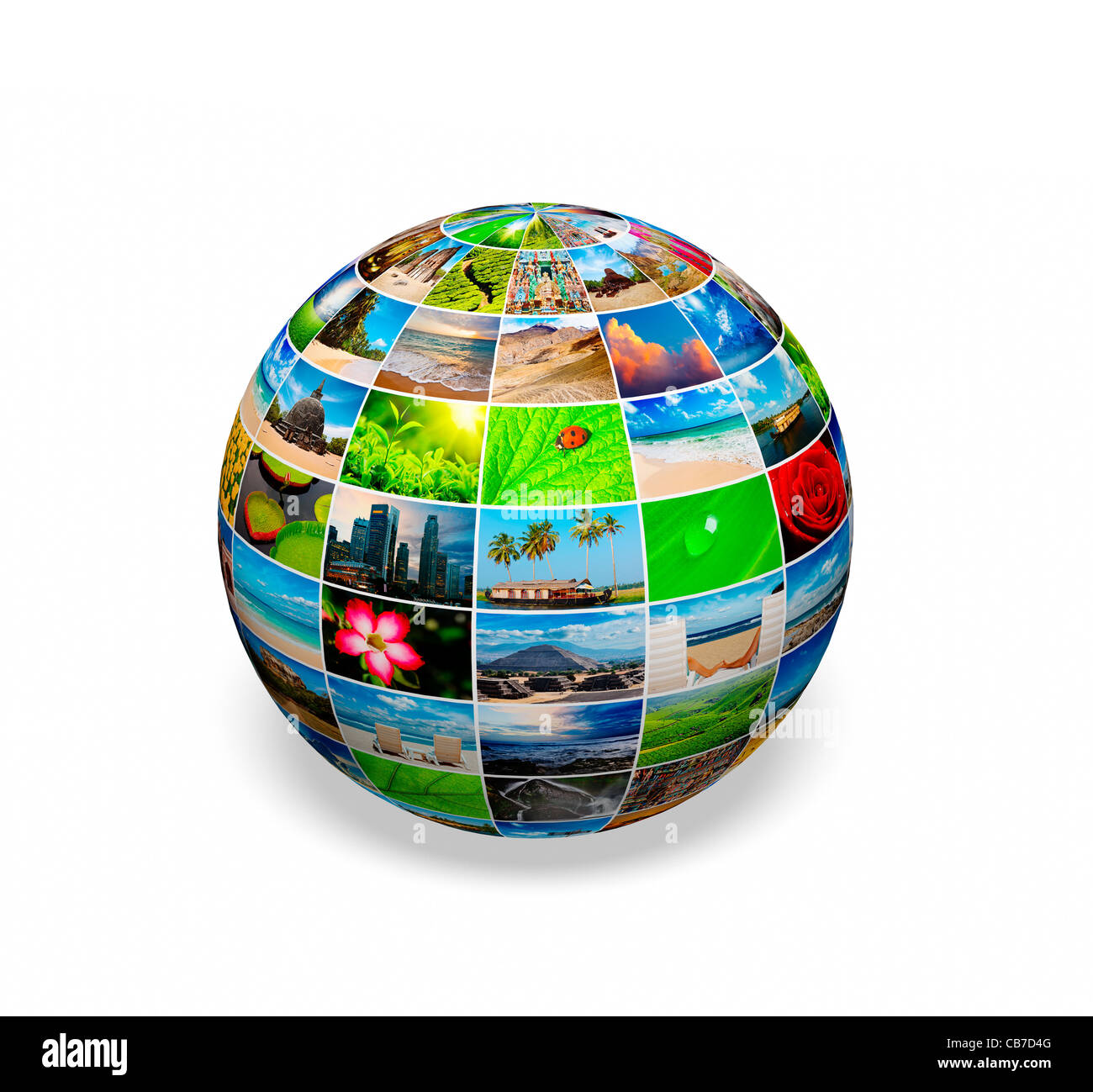 Social media planet - multimedia globe with images - Stock Image