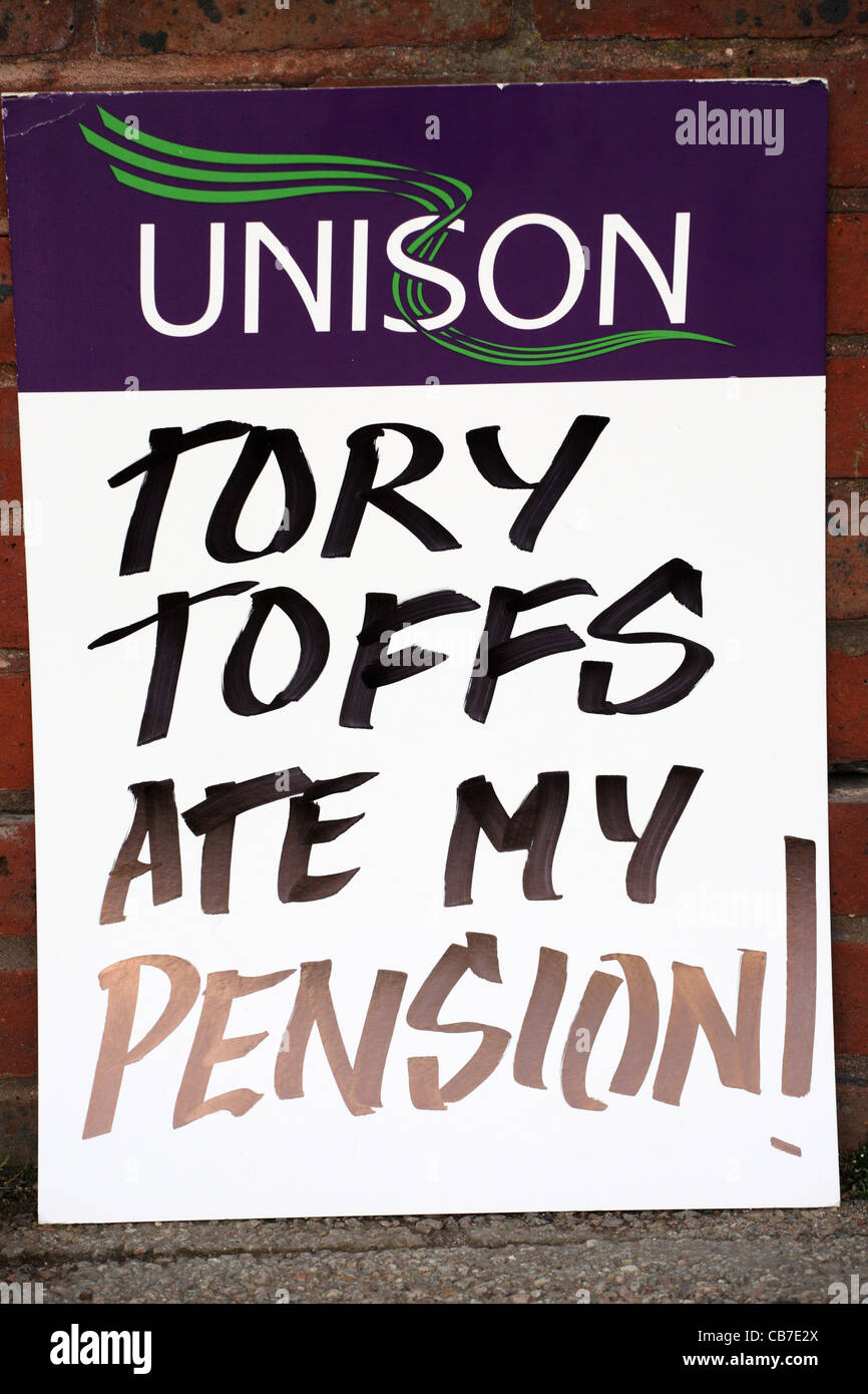Poster accusing Tory Toffs of eating public sector workers' pensions TUC day of action Gateshead, north east - Stock Image