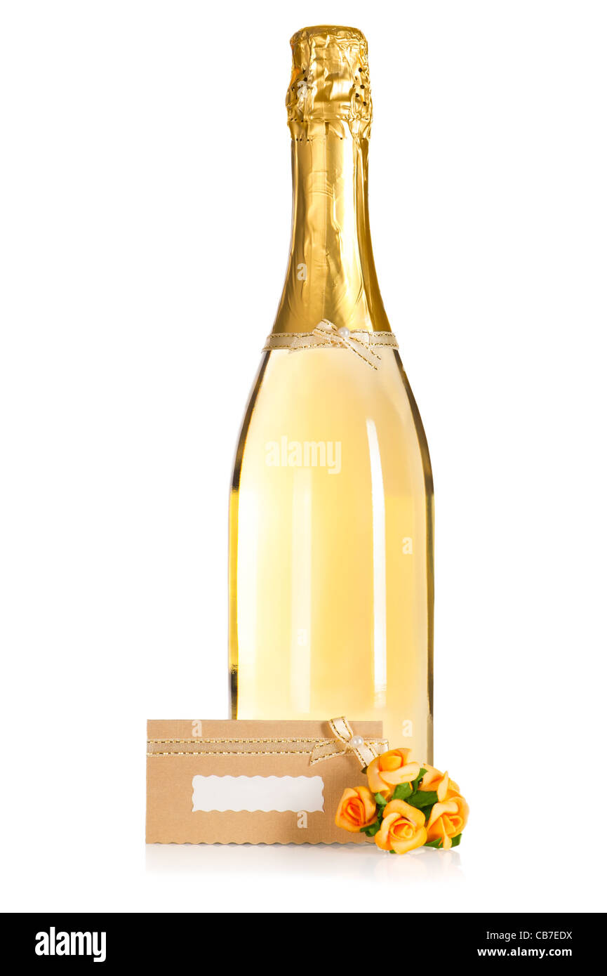 Bottle Of Champagne With Wedding Flower Decoration And Invitation