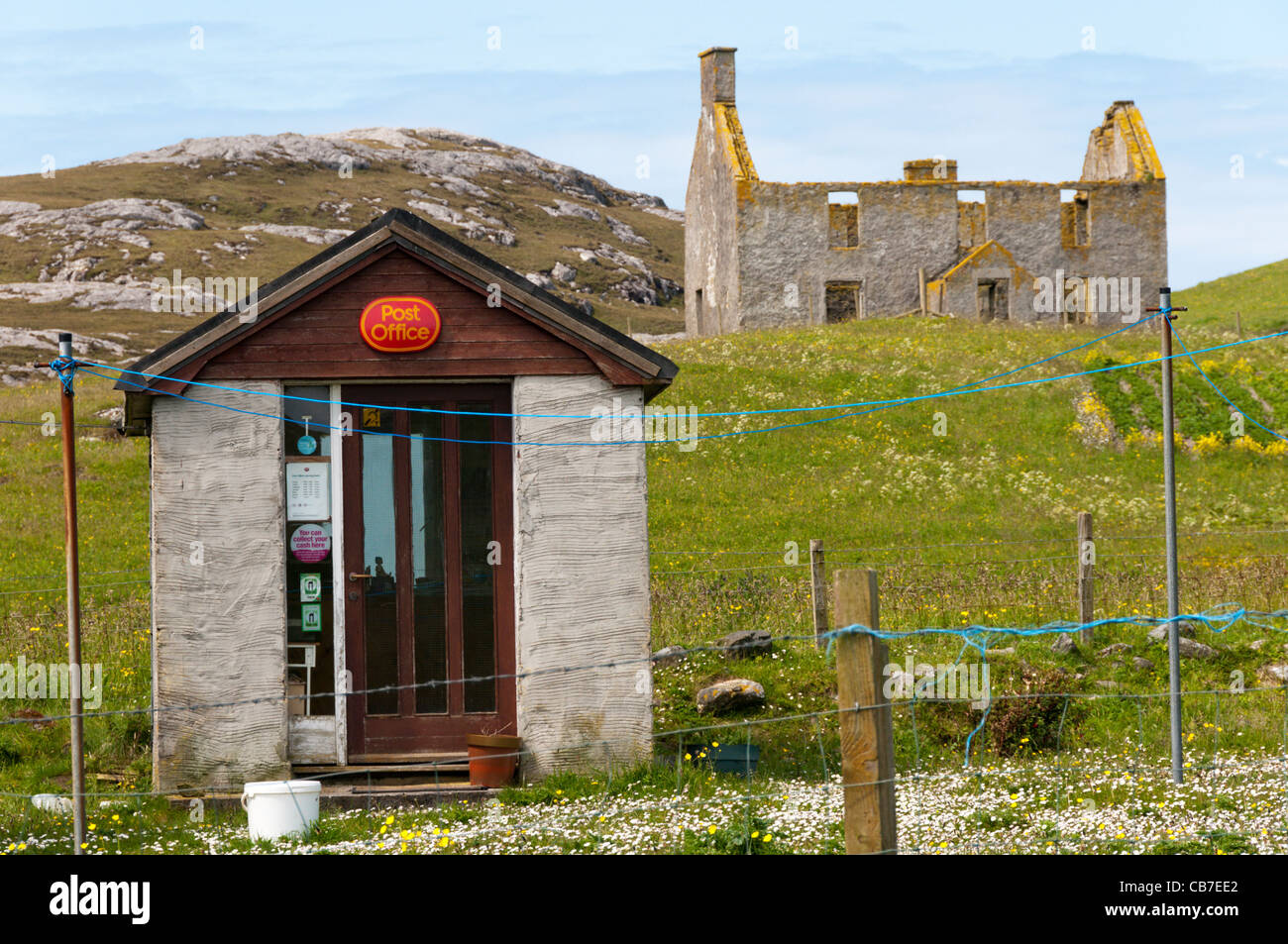 Small Post Office on the island of Vatersay in the Outer Hebrides. - Stock Image