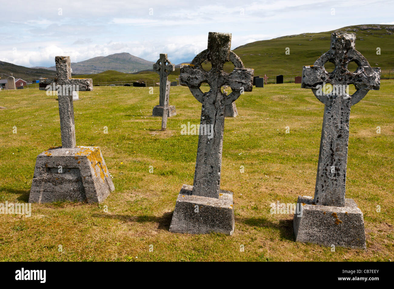 Crosses in the burial ground on the island of Vatersay in the Outer Hebrides, Scotland - Stock Image