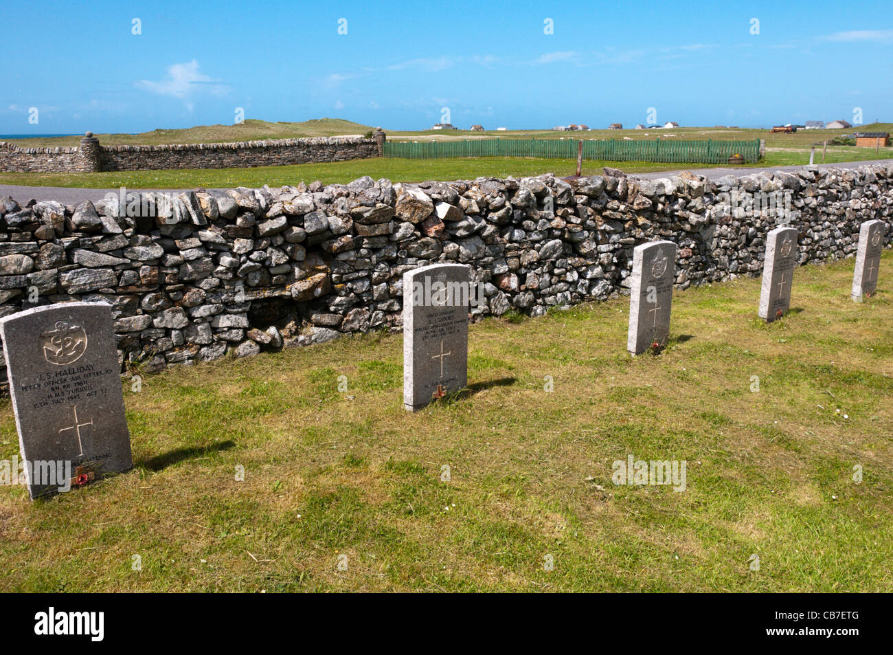 Second World War gravestones in Cladh Mhuire graveyard on the island of Benbecula in the Outer Hebrides - Stock Image