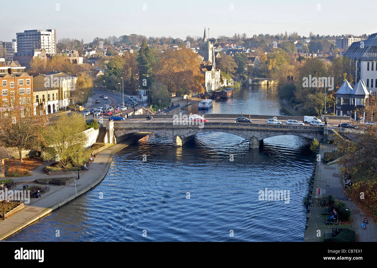 River Medway at Maidstone - Stock Image
